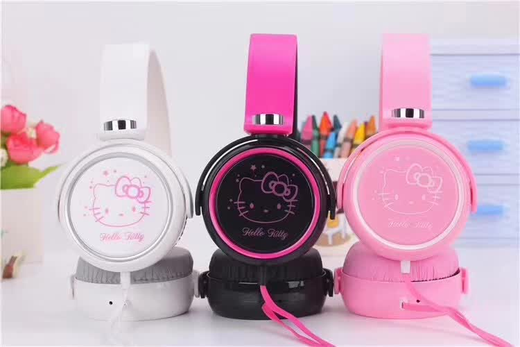 Cartoon earphone headset cute hello kitty headphones for Mobile Phone MP3/MP4/Computer for iphone samsung xiaomi, Girls headset kz headset storage box suitable for original headphones as gift to the customer