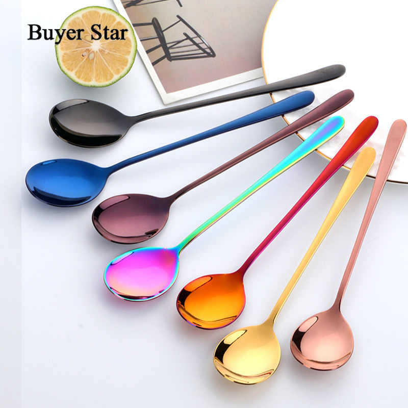 Buyer Star 8 Colors Stainless Steel Spoon With Long Handle Ice Spoon Coffee Spoon Tea Home Kitchen Tableware Spoons Size 21 CM