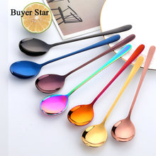 Buyer Star 8 Colors Stainless Steel Spoon With Long Handle Ice Spoon Coffee Spoon Tea Home Kitchen Tableware Spoons Size 21 CM(China)