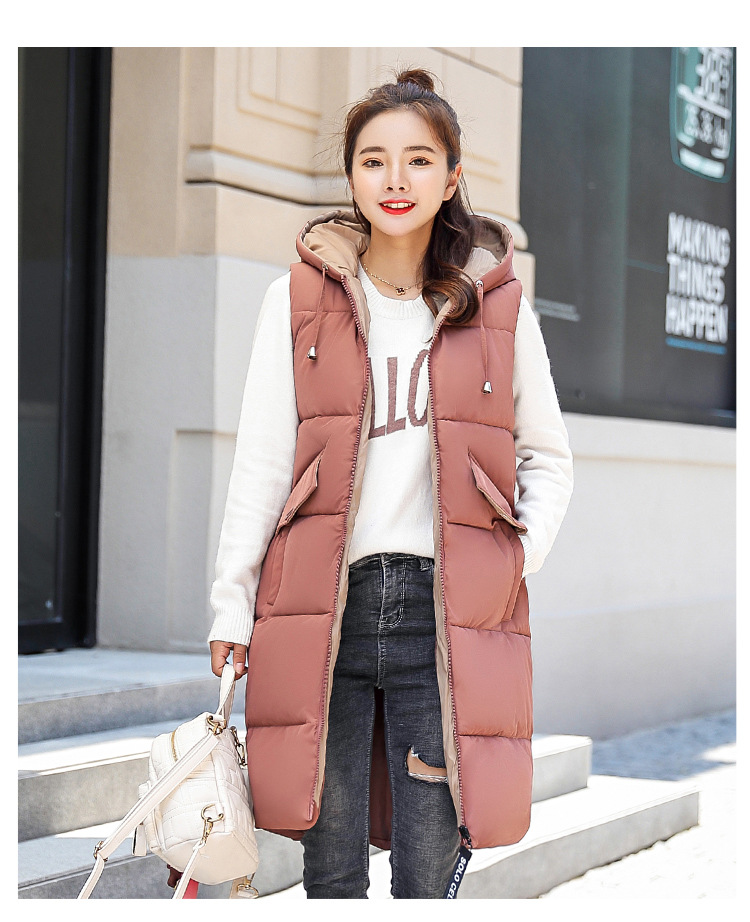 Autumn Winter Hooded Waistcoat Women Cotton Vest Jacket 2018 New Fashion Oversize Long warm Vest Black & Red Sleeveless Jacket