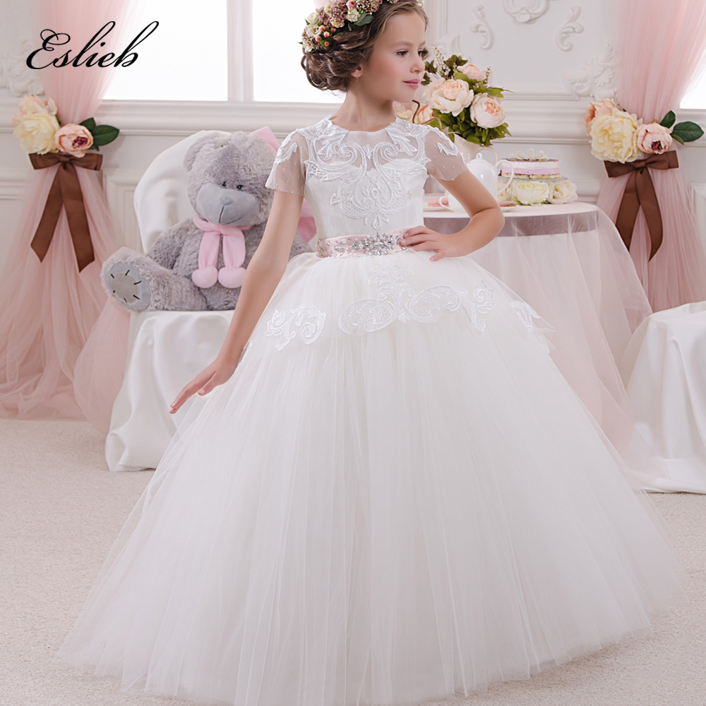 Ruffled Ball Gown Wedding Dress: Adorable Sweet Girl Pageant Dress Lace Appliques Ruffled