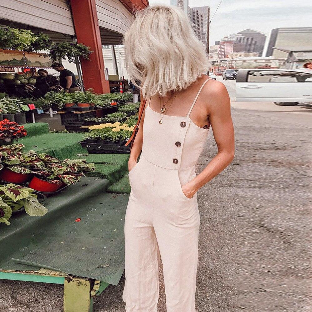 2019  Women Sleeveless Button Jumpsuits Overalls Bib Pants Dungaree Trousers  3.20