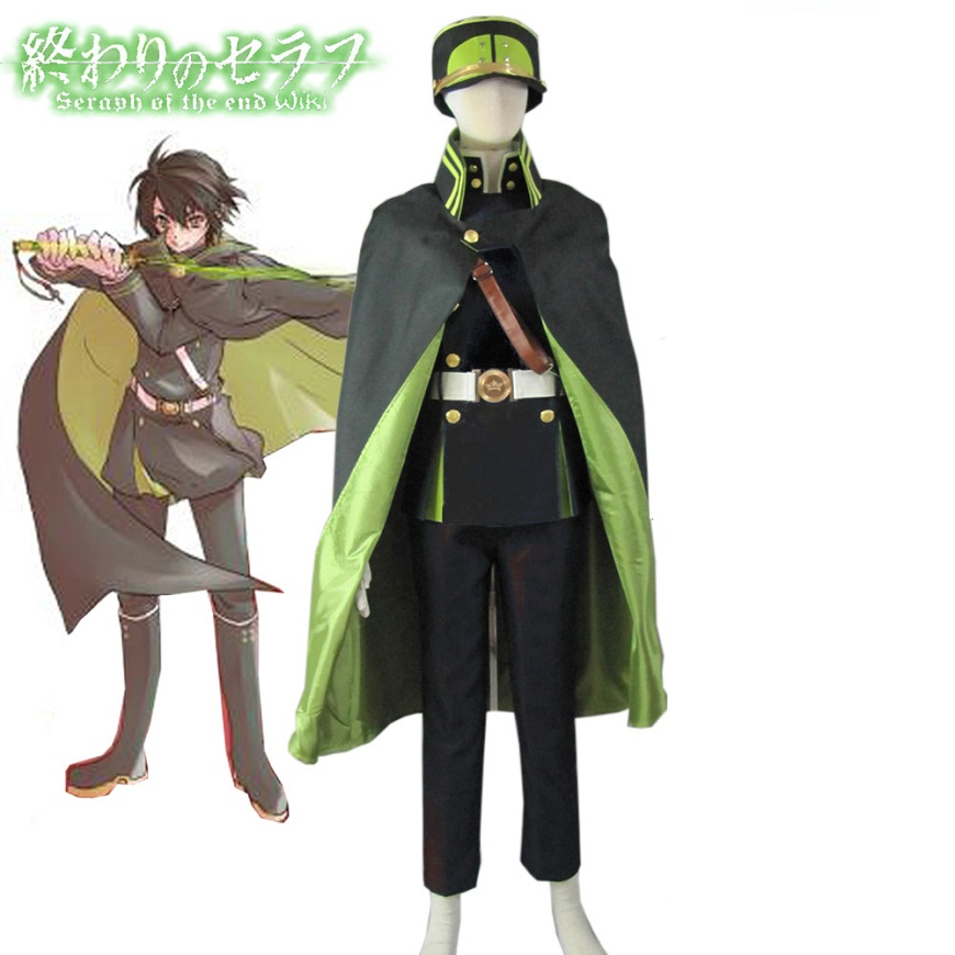 High-Q Unisex Anime Cos Seraph of the end Yuichiro Hyakuya Cosplay Costume Army Suit Sets