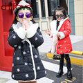 2016 New Winter Hooded Single Breasted Thick Parkas Snowflake Print Plush Cuff Cotton-Padded Jacket For Girls Children Clothing