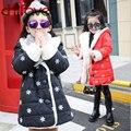 2016 Novo Inverno Com Capuz Único Breasted Grosso Floco De Neve Impressão De Pelúcia Manguito Algodão-Acolchoado Jaqueta Parkas Para Meninas Roupas para Crianças