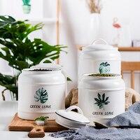 Ceramic Storage Bottle Nordic Household Creative Sealed Large Pot Ceramic Tea Pot with Lid Moisture proof Tea Set Candy Jar