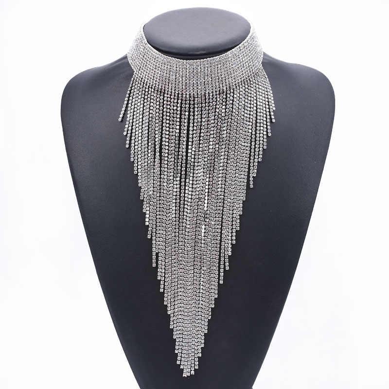 Womens Statement Long Large Crystal Diamante Rhinestone Choker Necklace Wedding
