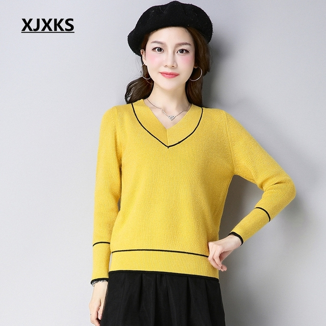 fab8a3a569 XJXKS Campus Sweaters High Quality Women Sweater Autumn 2019 New  Comfortable Wool Knitting Sweater Women Pullover