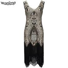 8ecee53c Women 1920s Flapper Dress Art Deco Great Gatsby Dress Vestidos V-Neck  Sleeveless Flower Embroidered Tiered Fringe Sequin Dress