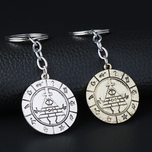 MQCHUN 2 Colors Gravity Falls Bill Cipher Zodiac Metal Keychain Vintage Wheel Dipper Key Chain Ring Keyring Pendant Cosplay Gift