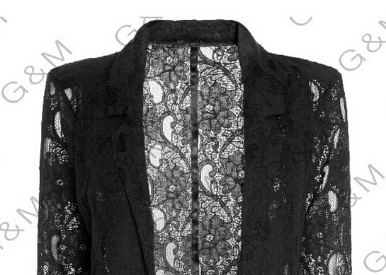 Abrigo Negro Larga Collar out Hollow Sexy Cordón No Crochet botón Floral Ahueca Manga Abrigos Abajo Fuera Mujeres Delgado Hacia 1AHqP
