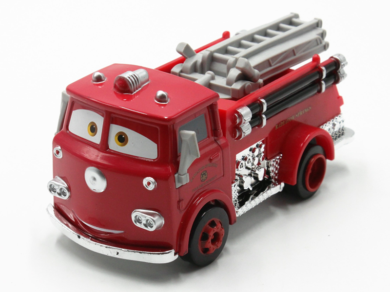 Disney about 10 Cm Fire Truck Red 2 Generation Large Size Car Alloy Model Toys Action Finger Toy for Childrens Christmas Gifts
