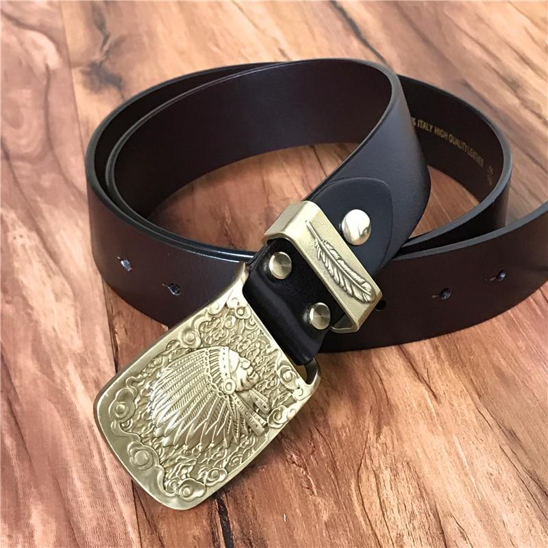 Luxury Indian Chief Feather Belt Buckle Leather Belt Men Ceinture Homme Cowboy Belt Cinturone Hombre Men's Belt Strap MBT0424