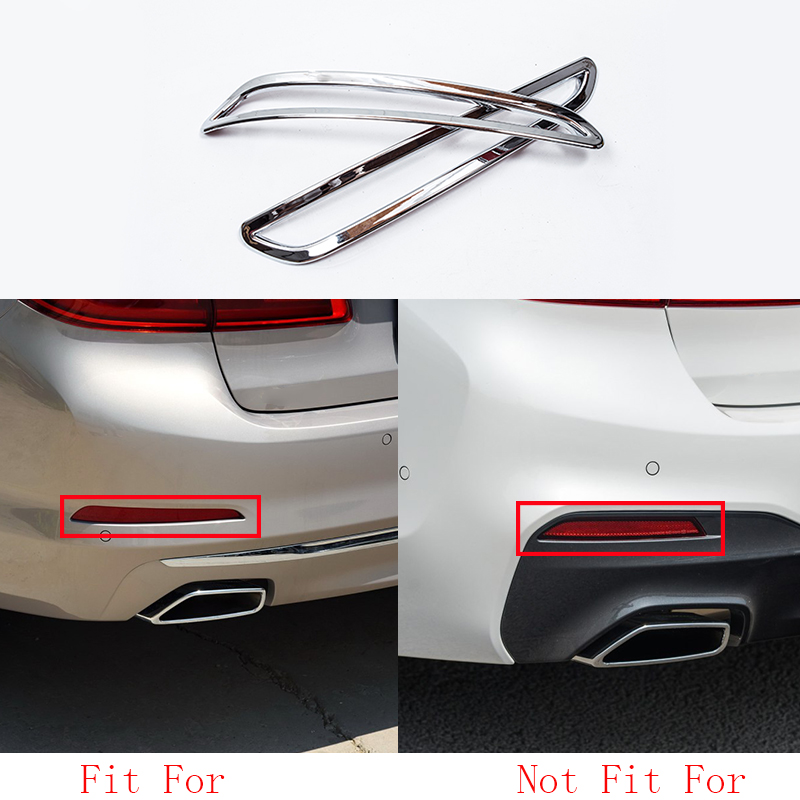 car accessories 2pcs/set Chrome Rear Fog Light Lamp Frame Cover Trim For BMW 5 Series G30 2017-2018 image