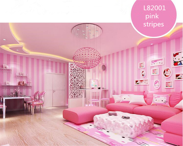 beibehang Modern simple Korean striped wallpaper pink warm child ...