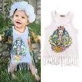 Vestido Das Meninas do bebê Verão Sem Mangas Borla Vestido de Festa Vestido Casual Da Criança Crianças Gopher 1-5Y