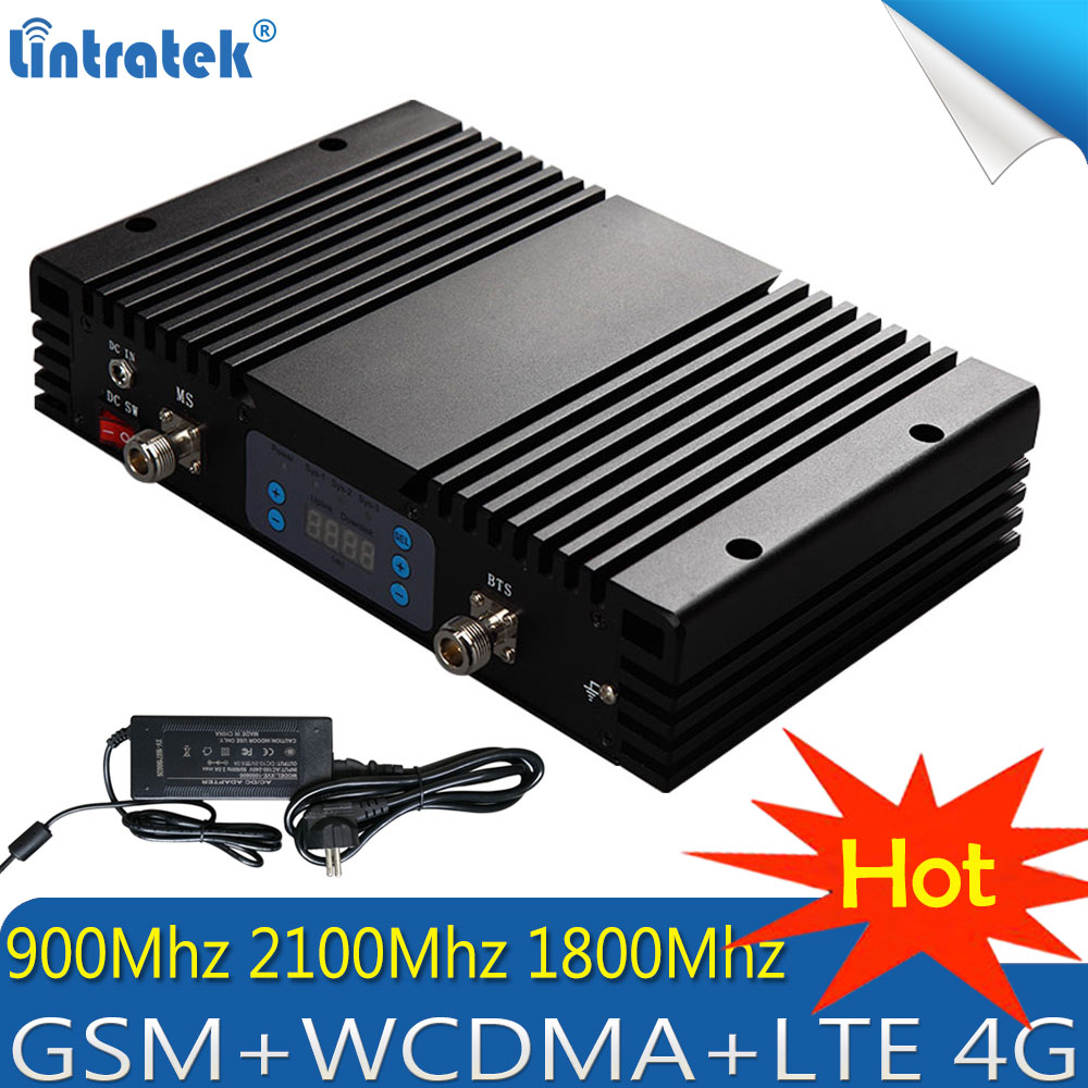 Lintratek 2G 3G 4G 80dB Tri-Band Signal Booster GSM 900 LTE 1800 WCDMA 2100 Mhz Mobile Cellular Signal Repeater 5W 4G Amplifier