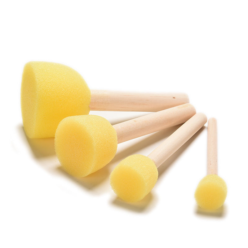 Kid Sponge Paint Brush Original Wooden Handle Painting Graffiti Early Toy DIY Art Supplies Gifts 4Pcs/set image