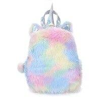 New Fashion Cute Plush Unicorn Rabbit Shaped Cartoon Bagpacks Leather Hologram Kawaii Women Girls School Bags