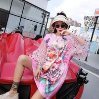 Kawaii Pink shirt dress Mesh Sleeve women dresses Short Sleeve 2018 New ulzzang Korean Style Clothing summer Cat Print LT547S30