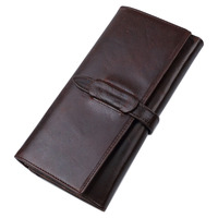 New Vintage Genuine leather Wallet Men's Long Bifold Wallets Currency Dollar Coin Credit ID Card Holder Purse Mobile Phone Bag