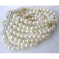 Charming white fresh water pearl 8 rows 6-7mm Round loose beads making jewlry bracelet 7.5 BV21
