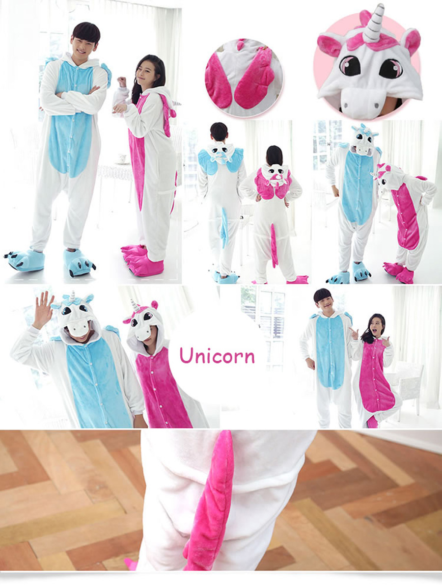 Blue Pink Unicorn Onesie Animal Cosplay Costume  Flannel Adult Halloween Carnival Masquerade Party Jumpsuit Clothing (9)