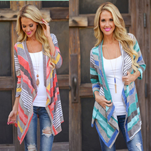 Women Fashion Maternity Clothes Autumn Contrast Color Stripes Cardigan Coat Bohemian Style Blouse  For Pregnant Women