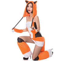 Adult Women Sexy Firefox Costume Bodysuit Cute Pokemon Cosplay Fancy Fleece Tailed Romper Porn Games Outfit