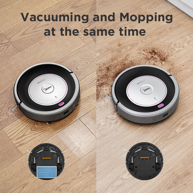 Midea MR02 Robot Vacuum Cleaner with 1000PA Suction,Vacuuming and Mopping 2in1,Remote Control,4 Cleaning Modes,G-SLAM Navigation