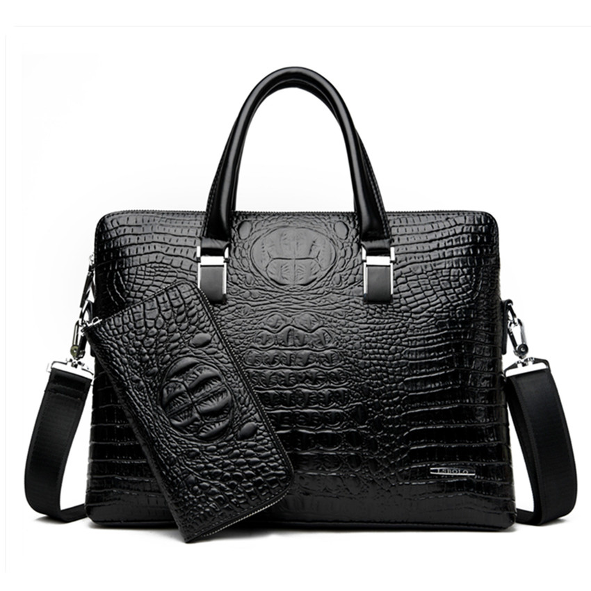Brand Designer Crocodile Pattern Briefcases Men Soft Leather Shoulder Bag Business Office Computer Laptop Bag Vintage Handbags