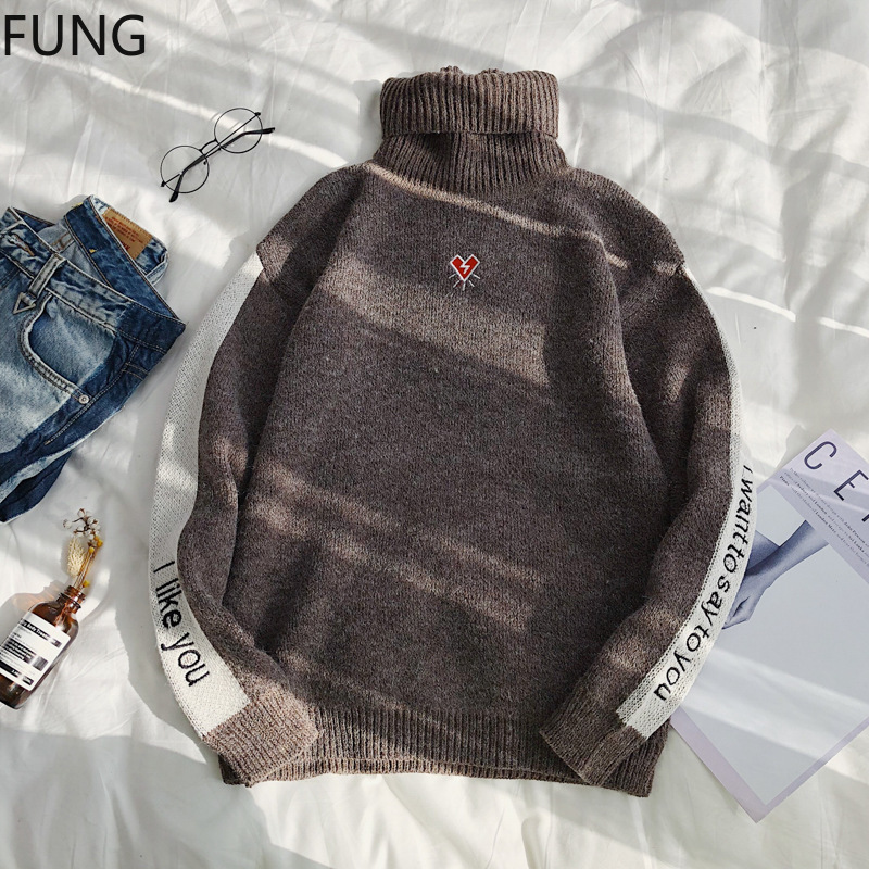 Fung Men's Sweater New Fashion Winter Sweater Men Long-Sleeved Casual Turtleneck Sweater Pullover Men