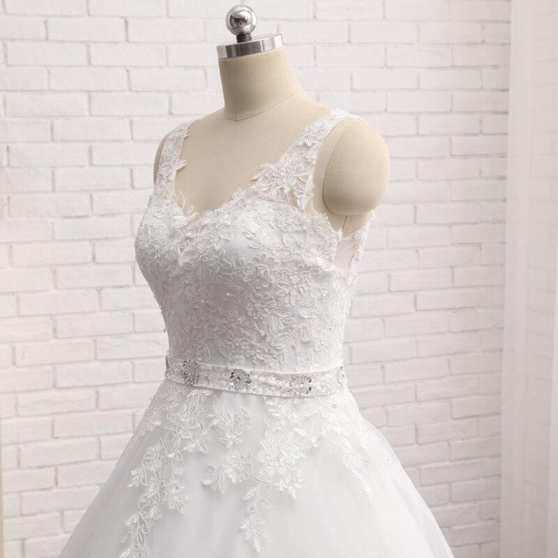 Vintage Vestido De Noiva New Design A-Line Lace Wedding Dresses 2019 V-Neck Beaded Sash Backless Wedding Gowns trouwjurk custom