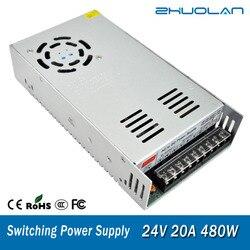 Cambiar la fuente de alimentación para el adaptador LED de cinta AC 110/220 V a CC 24V 20A 480W transformador
