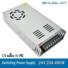 Fuente de alimentación de interruptor para adaptador Led de cinta AC 110 / 220V a DC 24V 20A 480W transformador