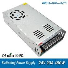 Interruptor de fonte de alimentação, para adaptador de tira led ac 110/220v para transformador dc 24v 20a 480w