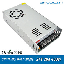 التبديل امدادات الطاقة لشريط Led محول التيار المتناوب 110 / 220 فولت إلى تيار مستمر 24 فولت 20A 480 واط محول