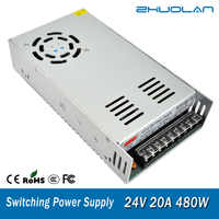 Switch Power Supply for Led strip Adapter AC 110 / 220V to DC 24V 20A 480W Transformer