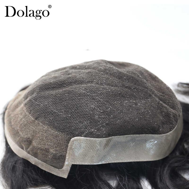 100% мужской парик из натуральных волос 10x7 дюймов, впрыска, кружевной верх, французское кружево, передняя сторона из полимера и задняя часть волос, заменяет мужские Т-системы Dolago