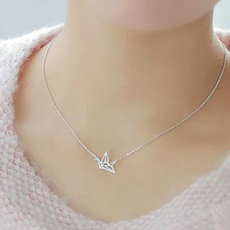 Bird Necklace Origami Crane Necklaces women Cute Delicate Choker Couple Necklaces for Lovers Grues en origami collier XL234