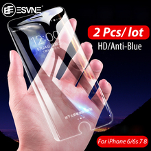 ESVNE (2PCS/LOT) 2.5D Protective Glass For iPhone 7 glass HD/Anti-Blue for 6 6s 8 Plus Screen Protector Tempered
