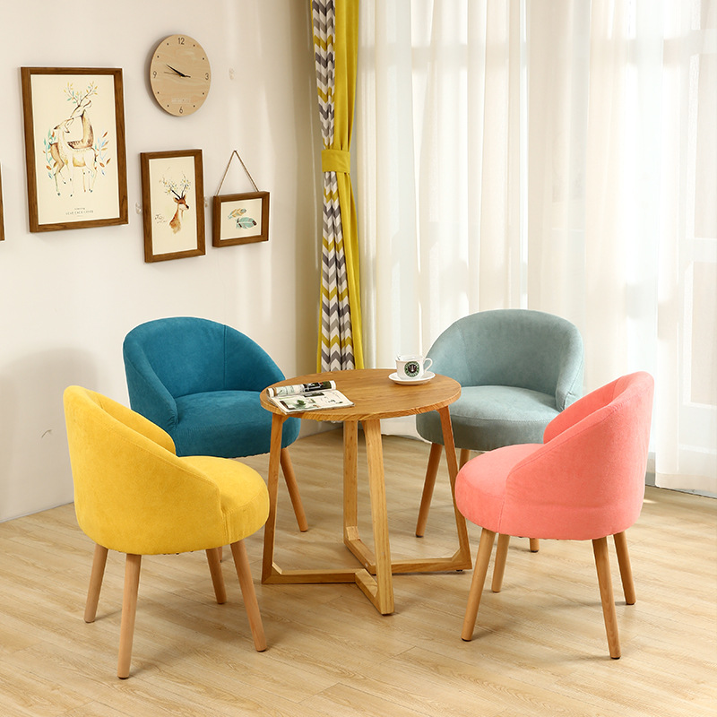 Modern Fabric Lazy Sofa Casual Living Room Home Furniture Solid Wood Dining Room Dining Chair Fashion Creative Personality Chair