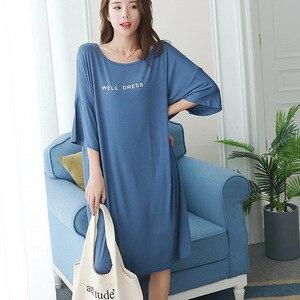 Image 4 - 2019 summer plus size home casual dress women letter print sleepdress cotton short sleeve strapless nightdress sleepshirts lady