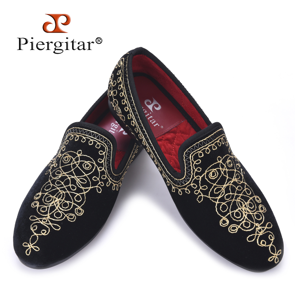цена на Luxurious Handmade Embroidered Motif Paisley Men Velvet Loafer Smoking Slippers Men Wedding Party and Banquet men dress flats