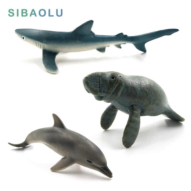 Enfeites em miniatura figura Modelo Animal simulação Pequeno Tubarão Azul Manatee Golfinho Estatueta de decoração para casa acessórios de decoração