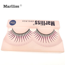 1 Pairs #534 Marlliss Herbruikbare Roze Glitter lashes Fiber Strip valse wimpers Synthetische Runway wimpers voor bruiloft(China)