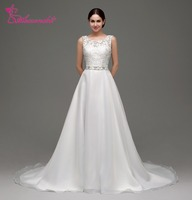 Alexzendra Stock Dresses V Back Chiffon Beach Wedding Dress Scoop Beaded Waistband Elegant Bridal Gowns Ready