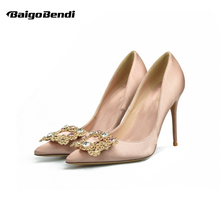 Woman Shiny Rhinestone Silk Heels Fashion Buckle Pointed Toe Thin Heel Shoes Office Ladies High Eur Size 33 34 41 42