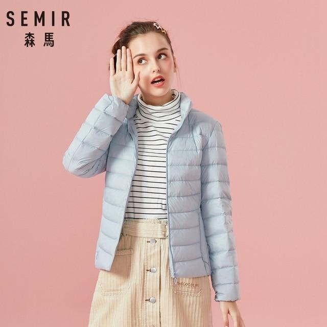 SEMIR 2019 Down Winter Jacket Women Cotton Short Jackets New Down Padded Hooded Warm Autumn Slim Coat Female Casual Tops 4