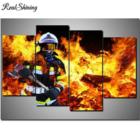 Multi pictures,Stickers,DIY Diamond Painting Cross Stitch Kits Full Diamond Embroidery 5D Square Mosaic Fireman/Fire FS6433